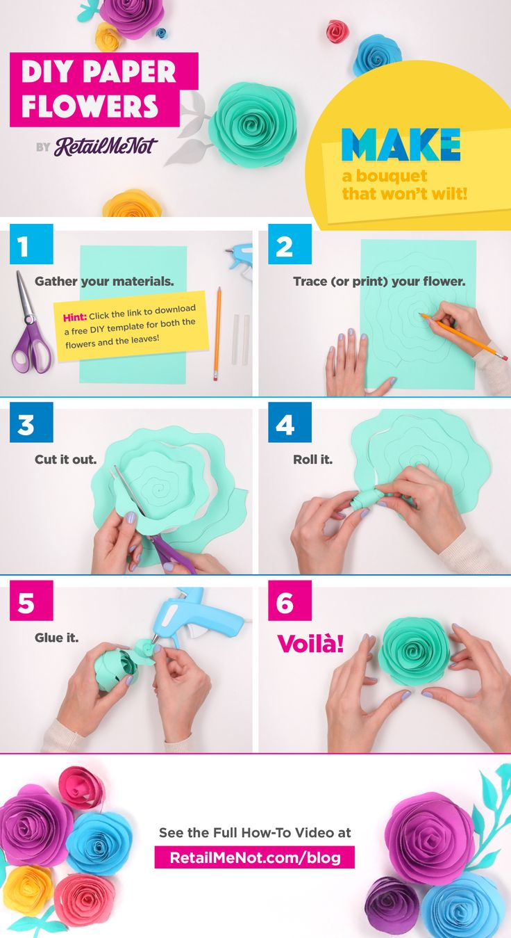 Why buy flowers when you can make your own? Try this gorgeous craft by yourself or with your kids. DIY Paper Flowers are as easy as one, two, bloom! Learn more at http://www.retailmenot.com/blog/diy-paper-flowers-tutorial.html?utm_medium=social&ch=socia&utm_source=pinterest&utm_content=0&utm_campaign=bp