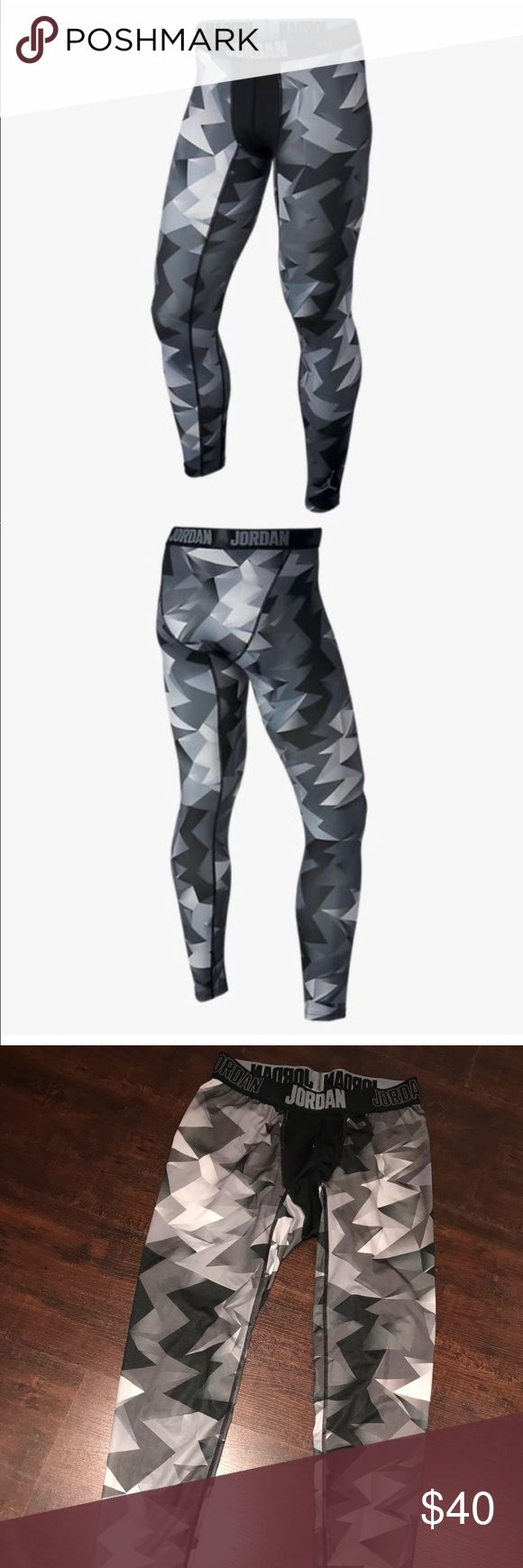 NIKE (men's) all season compression pant NIKE🔹men's large🔹silver/Grey/Black/White with thick NIKE waistband 🔹all season 🔹BNWOT🔹purchased for my BF, he never wore them , he likes a simple subtle color 😝 I like them...with black shorts over them...HOT HOT HOT!🤑🤑 Nike Pants Sweatpants & Joggers