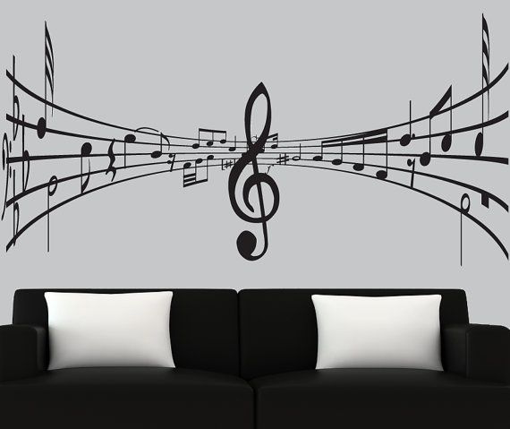 Modern vinyl wall decal 3d music notes decal black silhouette decals music wall mural - on Etsy, $69.00