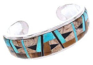 Southwest Multicolor Inlay Sterling Silver Cuff Bracelet GS58008 SilverTribe. $395.99