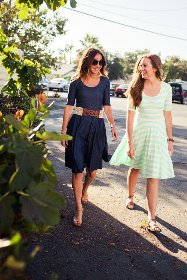 "LulaRoe denim and green striped ""nicole"" dresses. http://www.lularoe.com"