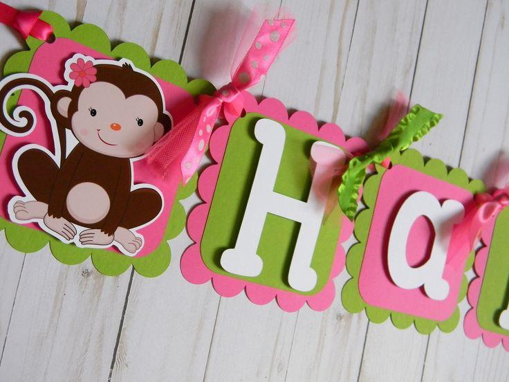 Monkey Birthday Banner, Monkey Party Decorations, Monkey Pink and Green Party, Monkey Party Garland, Monkey Banner, Monkey First Birthday by sweetheartpartyshop on Etsy https://www.etsy.com/listing/536268596/monkey-birthday-banner-monkey-party