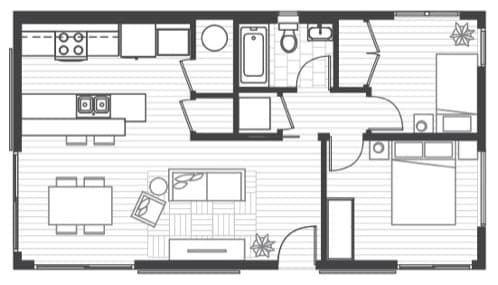 Fotografías, plano y características de serie del modelo ELEMENT de casa prefabricada de la firma americana Blu Homes. Vivienda ecológica de una planta.