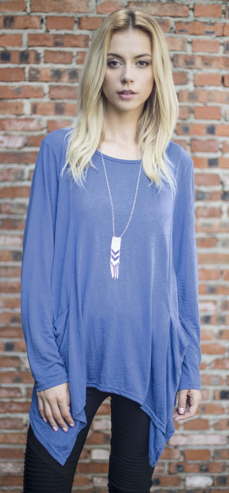 $26.99 Chicnico Casual Basic Round Neckline Pocket Blue Batwing Top