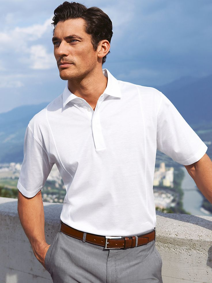 Muracchini spring casual men 39 s white polo menswear for Business casual polo shirt