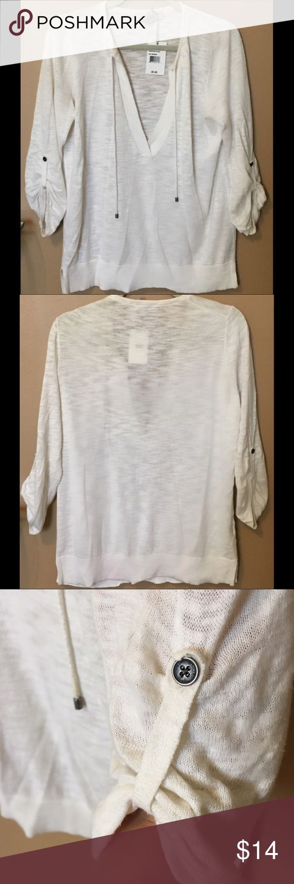 Ann Taylor Loft Pullover Sweater Shirt Ann Taylor Loft Pullover Sweater Shirt, Light weight. Draw string decor and button option to shorten sleeves. Brass hardware. NWT Tag says Large but fits like a loose S/M. If your body is a large it would work as a shirt- could pair with a tank or bralette Ann Taylor Tops Tees - Short Sleeve
