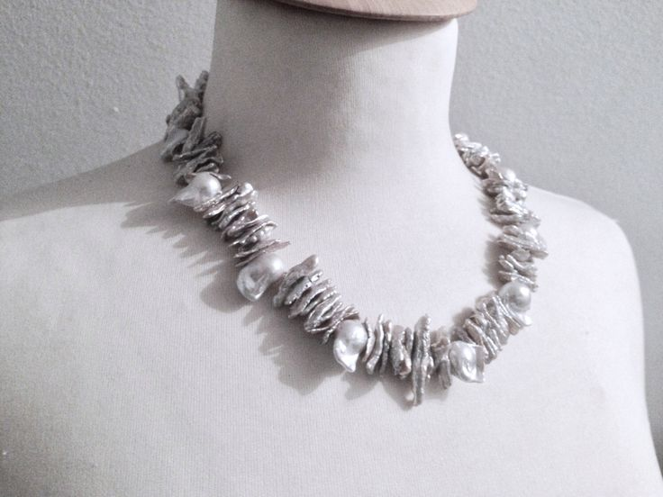 Pearl collier luxuriant real pearl necklace silver grey Keshi pearls, statement necklace , Christmas present by Perlenfischzuege on Etsy https://www.etsy.com/listing/257054249/pearl-collier-luxuriant-real-pearl