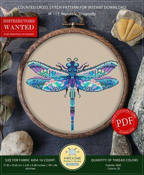 This is modern cross-stitch pattern of Mandala Dragonfly for instant download. You will get 7-pages PDF file, which includes: - main picture for your reference; - colorful scheme for cross-stitch; - list of DMC thread colors (instruction and key section); - list of calculated