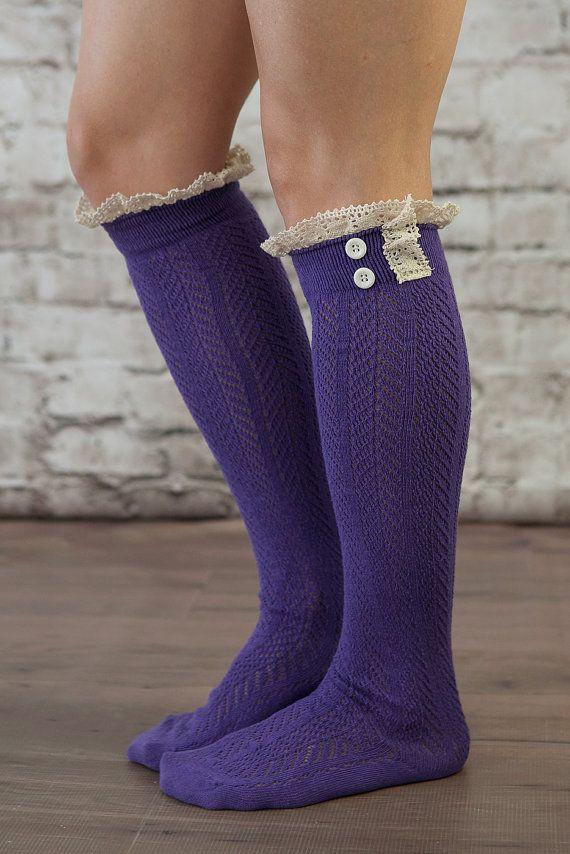 The Original Button Boot Socks! Give your legs a flattering layered look  with these darling boot socks! Topped with lace and matching button  details, ...