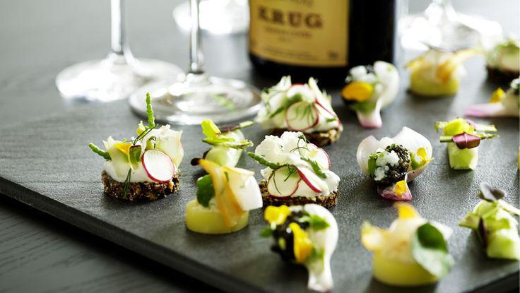 Spring canapees at our Michelin star restaurant Kokkeriet, Copenhagen - Denmark.