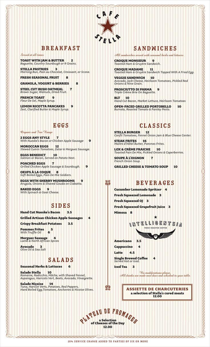 Brunch Menu : Cafe Stella