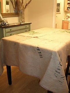 Burlap tablecloth made from Coffee Bean Sacks.