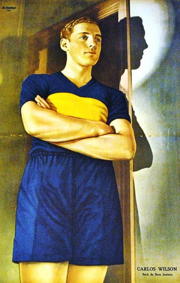 """Carlos Wilson in the colours of Boca Juniors on the poster in """"El Grafico"""" of 1937 (?)"""