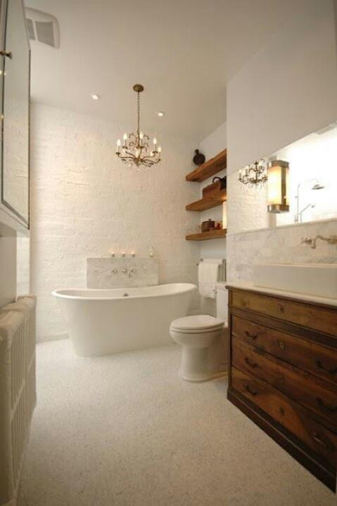 Bathroom idea: like the wood with neutrals