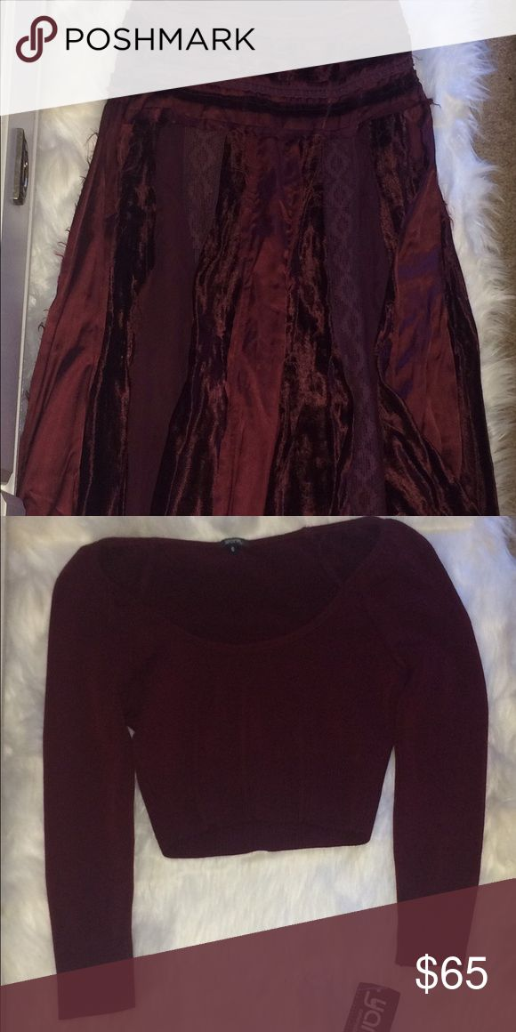 2 Piece Outfit Burgundy Maxi Skirt and Crop Top Adorable outfit never worn new with tags! Skirt is long, and flowy. Beautiful, and elegant. Very BoHo. Tops Crop Tops