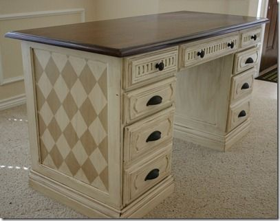 Desk makeover. Love this....I have an old piece of furniture just waiting to look like this...
