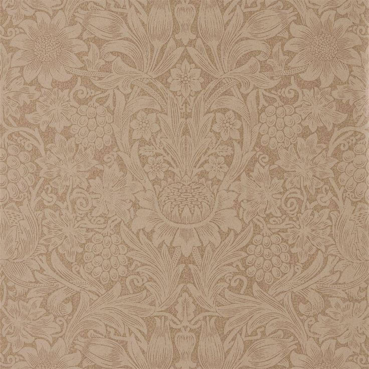 Pure Sunflower in copper and russetis a large scale print created from the original Morris & Co block in 1879.Astrikingdesign, printed onto a linear paper and then enlarged for a contemporary feel. Extra wide roll  This is a special order item and cannot be returned