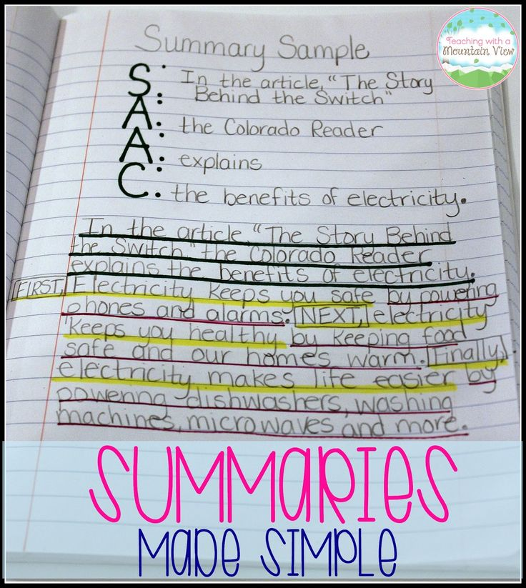 Teaching With a Mountain View: Writing Summaries
