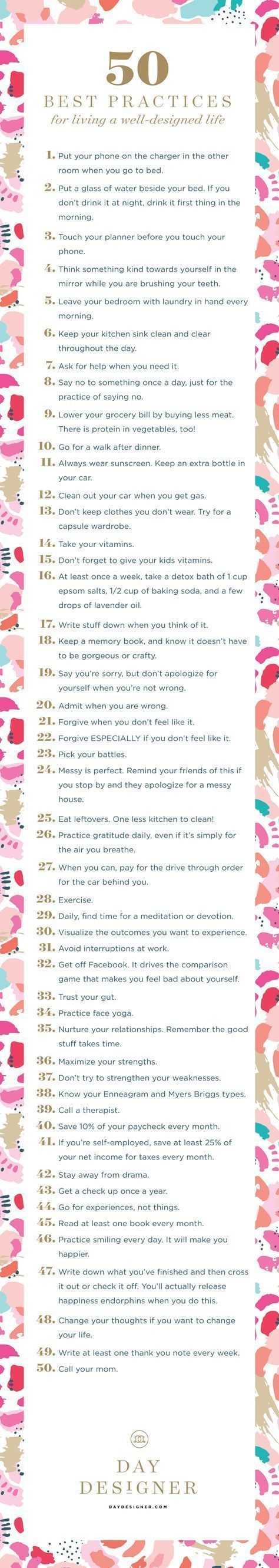 Fifty Best Practices for Living a Well-Designed Life | Day Designer®️️️️ • 2016 Daily Planner