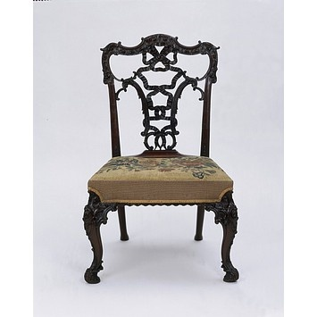 """Chair, Chippendale style in the """"French"""" taste, or Ribband Back. Made 19th century however.: Carvings Mahogany, Chippendale Chairs, Style, Chippend Chairs, Antique Chairs, Modern Seats, Seats Upholstery, 18Th Century, Antiques Chairs"""