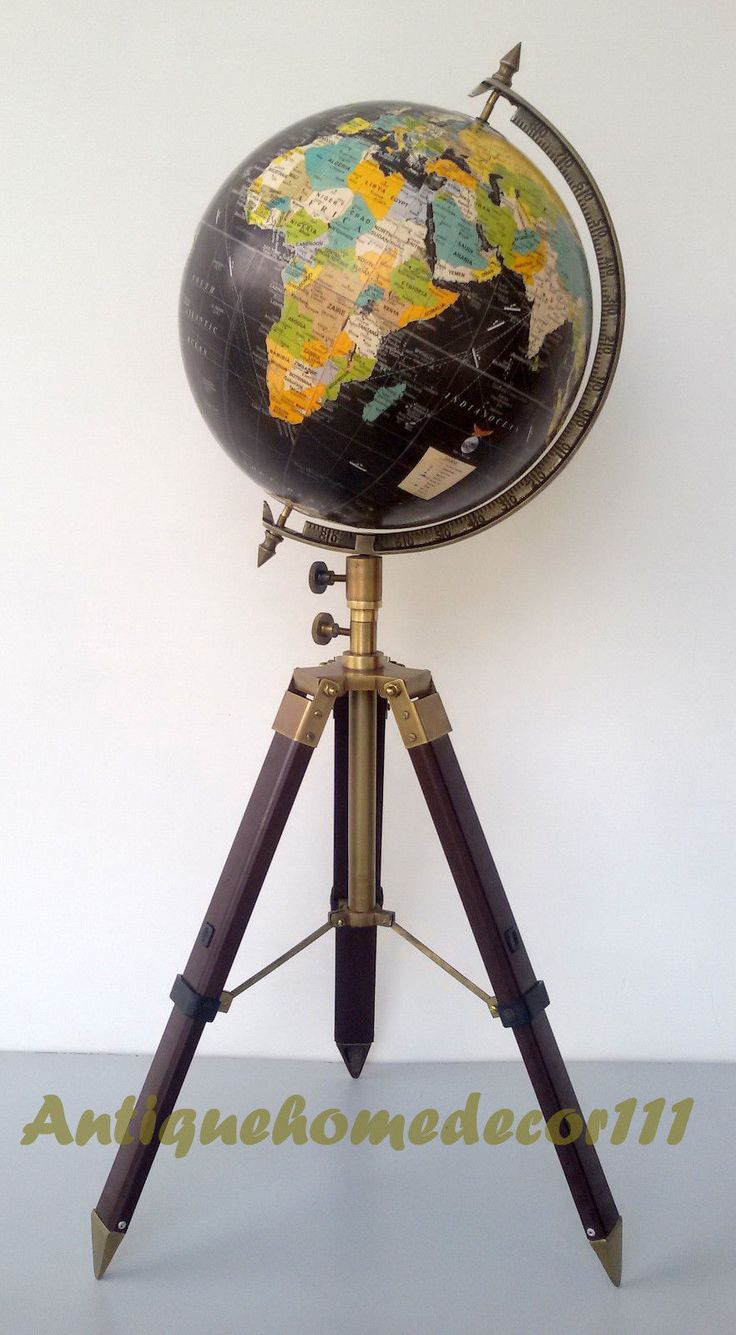 "Beautiful Nautical Contemporary World Table Decor Globe with Tripod Stand Authentic Globe. ANTIQUESTYLE WORLD GLOBE WITH TRIPOD STAND. ANTIQUE FINISH ADJUSTABLE TRIPOD STAND. TABLE TOP WORLD GLOBE. GLOBE DIAMETER : 12""."