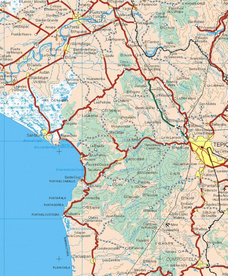 This map shows the major cities (ciudades) of San Miguel Dos, Santiago Ixcuintla, El Cajornal, Yago, Redención, Valle Lerma, Sentispac, Amapa, El Tizate, Patrtoneño Uno, El Tambor, Villa Hidalgo, Puerta de Mangos, Cañada el Tabaco, Laurele y Gongura, Autan, Guadalupe Victoria, Sauta, San Blas, El Tambor, Bellavista, Mecatan, Matanchen, Tepic, La Palma, Aticama, Jalcocotan, Xalico, Santa Cruz, Pantanal, Testerazo, Aquiles Serdan, Emiliano Zapata, Otatesy Cantarramas, Ixtapa de la Concepción…