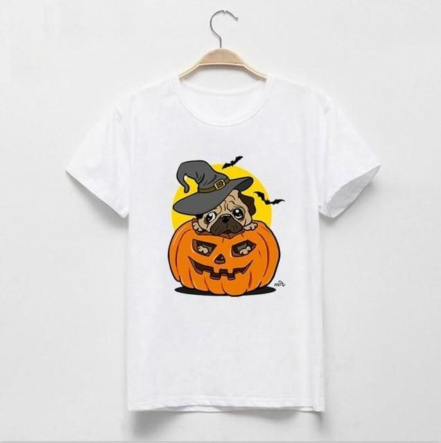 Lei-SAGLY 2018 Newest Halloween Women T Shirts Halloween Pug T-Shirt Pumpkin Dog Printed Novelty Tops Short Sleeve Casual Shirts