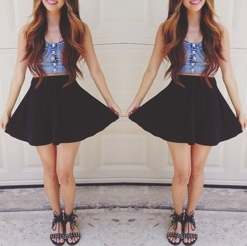 Blue jean bralet with black skater skirt and killer sandals. Yess   Dressesu223dSkirts u2665   Pinterest ...