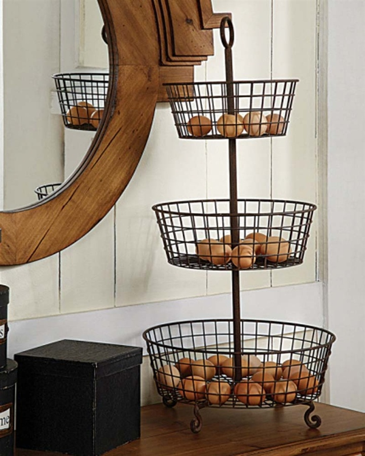 Curatedstyleshop: 3 Tier Metal Basket Vegetable Stand U201cA Rusted Vintage  Style Three Tier Basket Great For Extra Storage In The Kitchen, Laundry  Room, ...