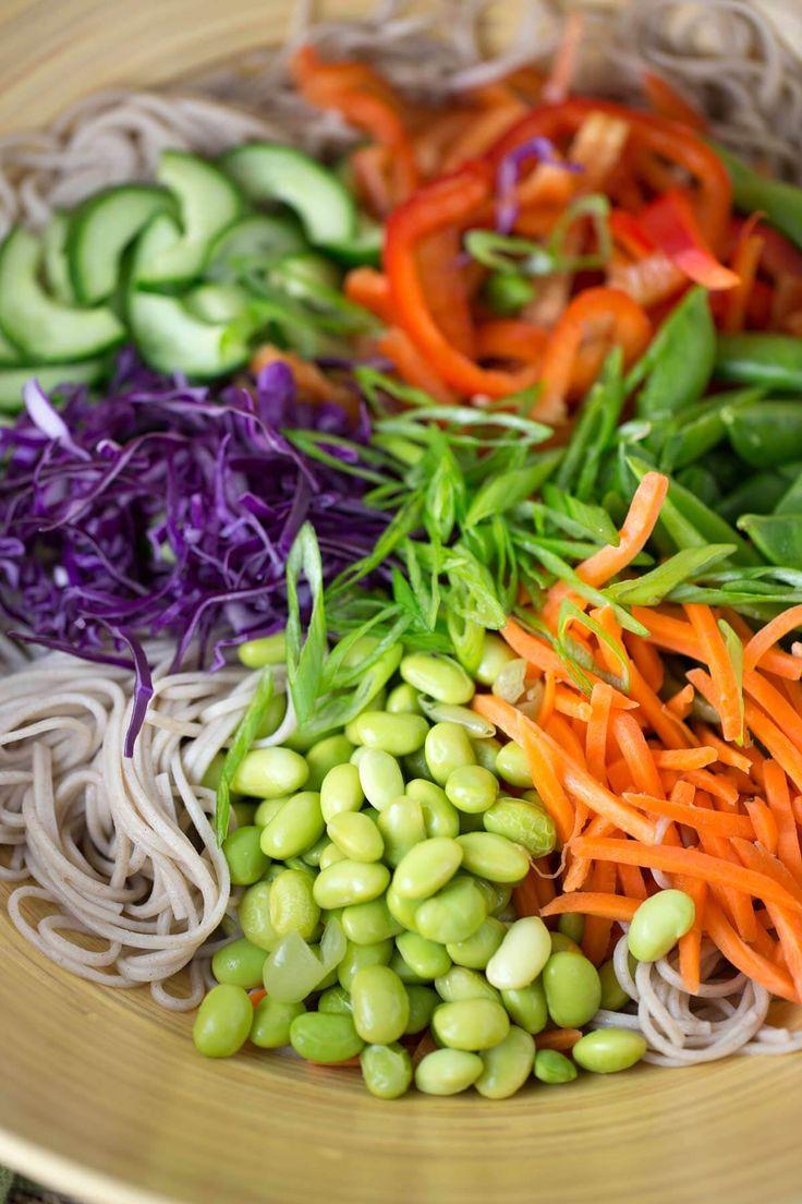 Ingredients for a soba noodle salad recipe | jessicagavin.com