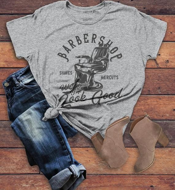 Women's Barbershop T Shirt Barber Shirts Make You Look Good Vintage Graphic Tee