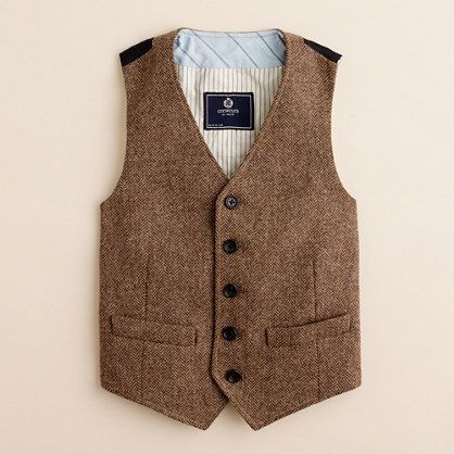 Groom in warm brown tweed vest in herringbone pattern with baby's breath boutonniere. Description from pinterest.com. I searched for this on bing.com/images