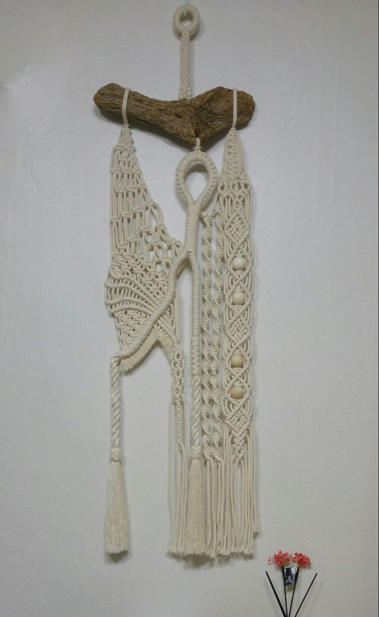 #Macrame #wallhanging (35X80cm): 12mm #laid rope & 4.5mm #braided cotton cord, #driftwood rod. Designed & made by H.S.Kim, Dec.9, 2017.