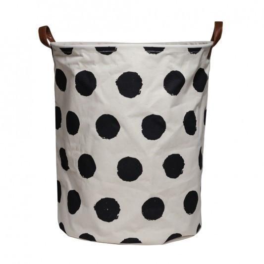 Canvas Storage Basket - Black/White Spot