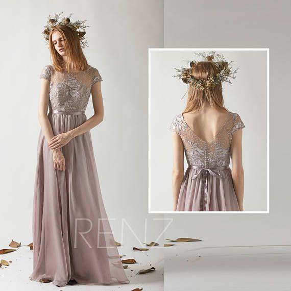Bridesmaid Dress Rose Gray Chiffon Long Wedding DressCap
