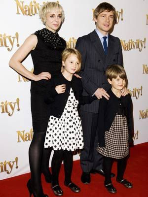 Martin Freeman and his partner, actress Amanda Abbington, and the couple's two children, Joe and Grace.