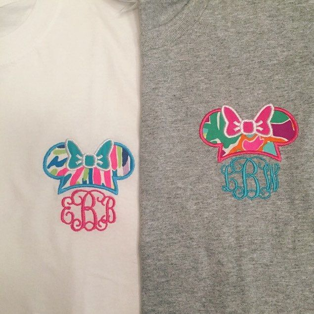 Murphy monograms with Lilly Pulitzer fabric Minnie Mouse Disney monogram shirt! 30 Lilly prints to choose from to customize your shirt! Lulu print and Palm reader with hot pink and turquoise thread!