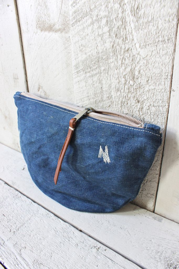forestbound - denim utility pouch: ww2 american navy denim & original mending + 1940s star-printed feed sack lining