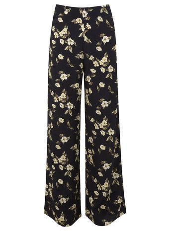Yellow Floral Wide Leg Trouser