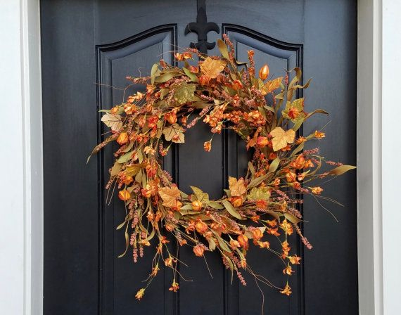 Autumn Chinese Lantern Wreath, Fall Wreath, Chinese Lanterns, Orange Lanterns, Fall Orange Lantern Wreath, Artificial Fall Wreaths  This lovely Autumn Lantern Wreath is full of beautiful autumn orange colored lanterns and fall foliage. The wispy nature of this wreath reminds me of gathering dried field flowers in the fall and creating a wispy fall decor piece for my mothers dining room table.  PLEASE NOTE: This wreath can be displayed indoors or outdoors under a completely covered porch. I…