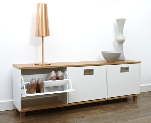 Stylish Shoe Storage Bench With 3 Drawers Which Is Finished In A Choice Of Oak Or Walnu