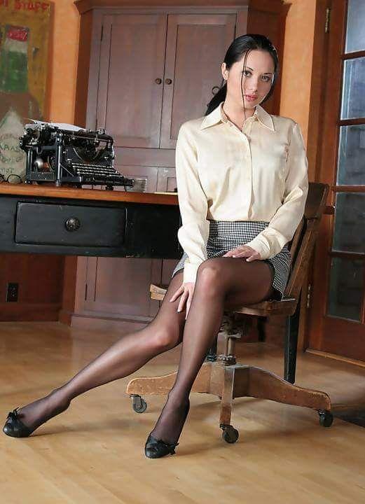 Secretaries In Short Skirts Stockings 12
