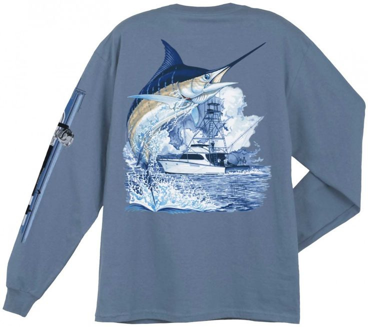 CAL TEES / GUY HARVEY SHIRTS - Guy Harvey Marlin Boat Back-Print Long Sleeve Tee in White, Denim Blue, Black, Yellow or Smoke Gray, $24.00