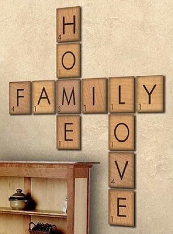 DIY Large Scrabble Tiles. Love it! Added Jesus to it as well <3  Could do this method or just do vinyl on wood