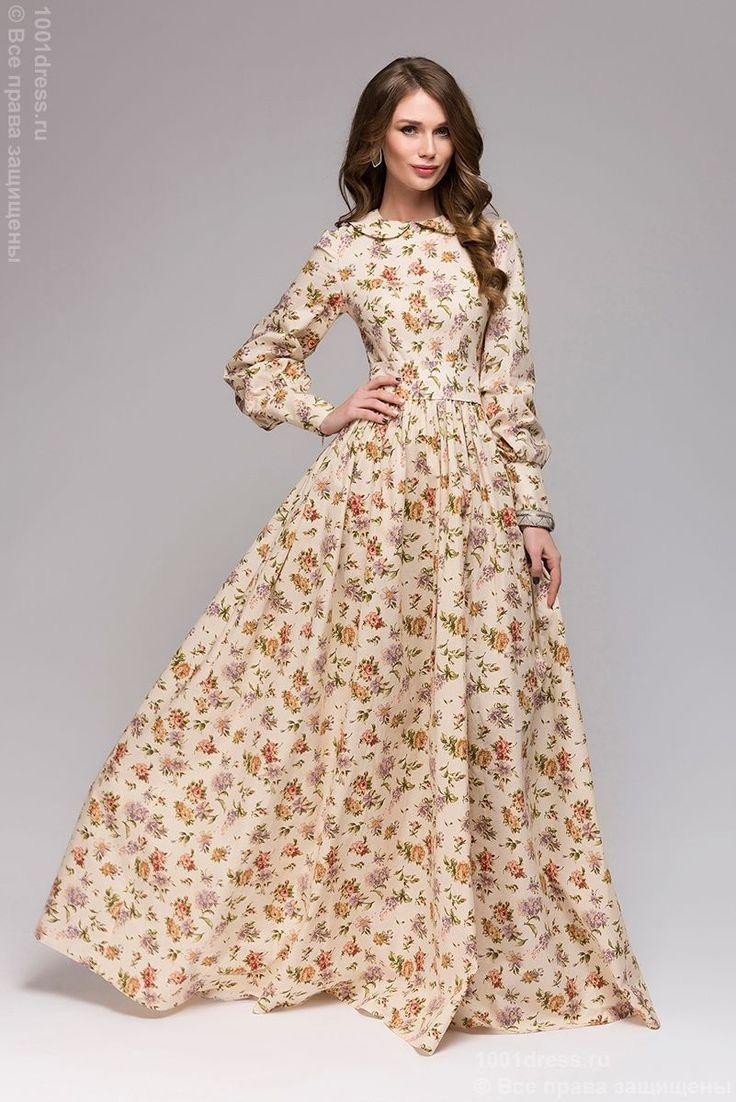Длинное ванильное платье с цветочным принтом и длинным рукавом купить в интернет-магазине 1001 DRESS