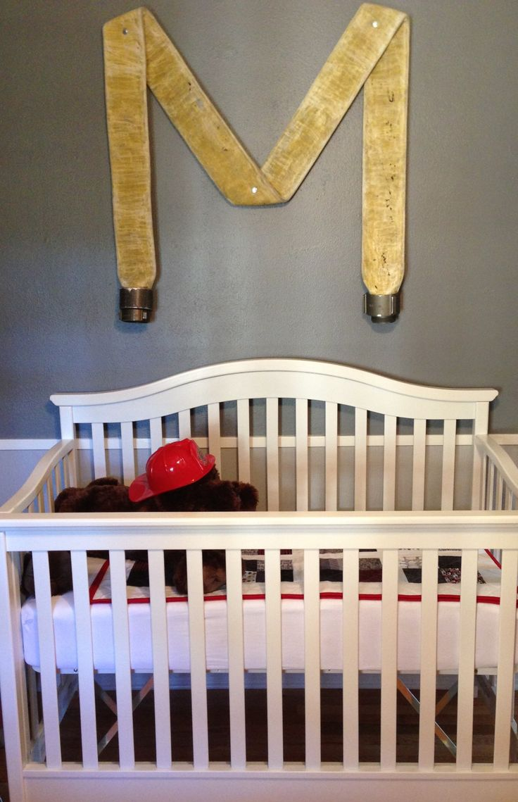 DIY: Fire Hose Nursery Wall Initial  | Shared by LION