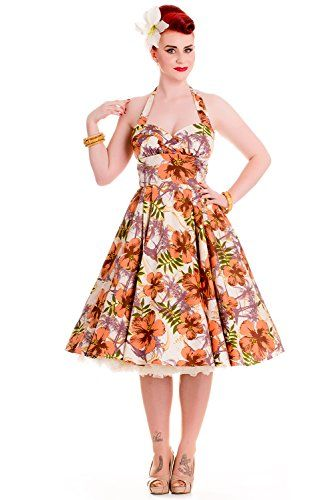 Hell Bunny Women's Kaila 1950s Rockabilly Retro Vintage Swing Summer Dress   Hell Bunny Women's Kaila 1950s Rockabilly Retro Vintage Swing Summer Dress  Size Chart          Size: 6/Extra Small        Bust: 32in (81cm)    Waist: 26in (66cm)    Hips: Freestyle    Waist To Hem: 25in (63cm)    Length From Neck: 40in (102cm)         Size: 8/Small        Bust: 34in (86cm)    Waist: 28in (71cm)    Hips: Freestyle    Waist To Hem: 25in (63cm)    Length From Neck: 40in (102cm)         Size: 1..