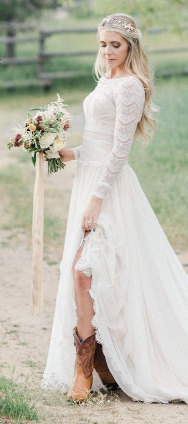 15 Gorgeous Country Wedding Dresses You Ll Love Emmalovesweddings Lace Wedding Dress Country Rustic Wedding Dress Lace Wedding Dress Long Sleeve [ 1351 x 600 Pixel ]