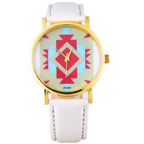Sotijobs Womens Ladies Unisex Aztec Dial Pattern Wrist Watch White