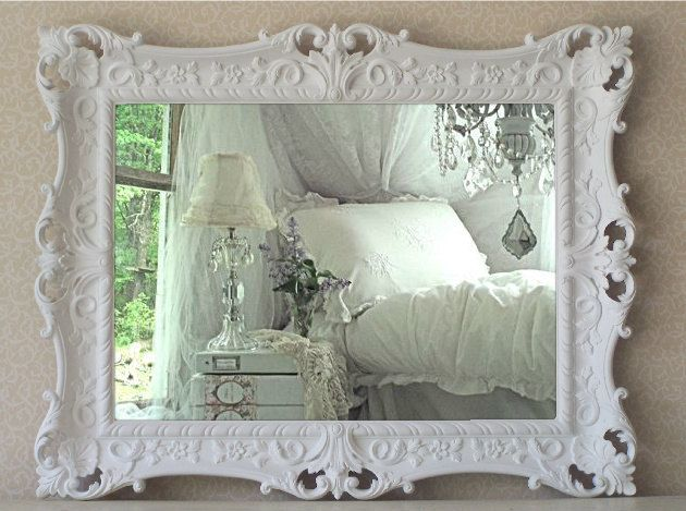 French Country Mirror Baroque Shabby Chic by smallVintageAffair